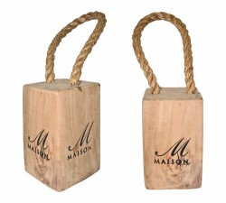 Oak Block Door Stoppers with Handle