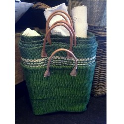 Sisal Bag with Leather Handles from Madagascar