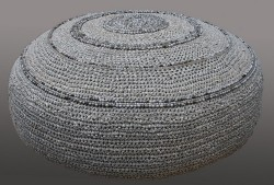 Crocheted Leather Ottomans - Round