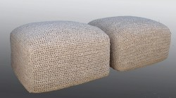 Crocheted Leather Ottomans - Square